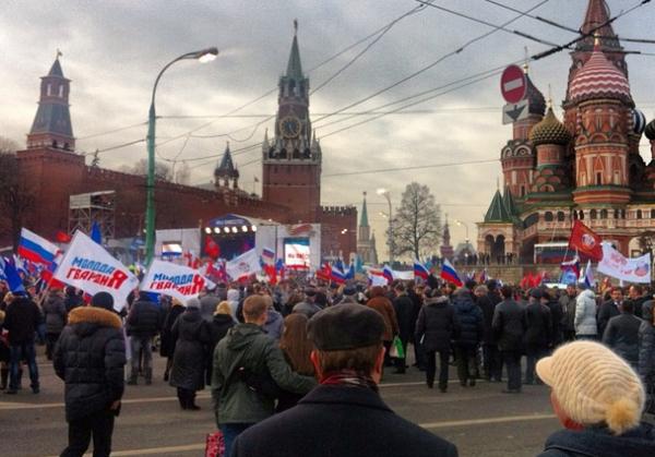 В центре Москвы начался провластный митинг за присоединение Крыма