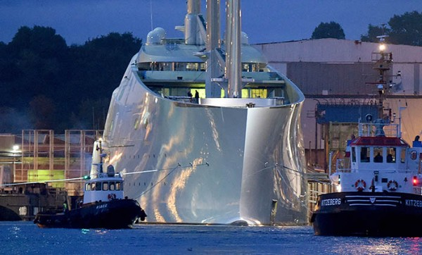 epa04942078 The sailing ship 'White Pearl', described by media as a 'Mega sailing yacht', is prepared for a test voyage in Kiel, norther Germany, early 21 September 2015. The sailing ship with masts of up to 90 meters has been built by the 'German Naval Yards' ship builders. According to media reports it is believed that the yacht was ordered and is owned by Russian multi billionaire Andrey Igorevich Melnichenko. EPA/CARSTEN REHDER