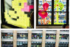 Война стикеров. Сотрудники выкладывают оригинальные картинки на окнах офисов