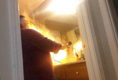 Видео: мужчина случайно поджёг свою жену во время пранка