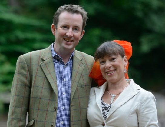 Angus and Angela Milner Brown from Biggar who bought a £5 chair at auction only to find valuable jewellery hidden inside. A couple who bought a dusty old chair for just £5 were astonished to discover diamond jewellery worth £5,000 hidden inside it. See CENTRE PRESS story CPBLING. Angela Milner-Brown, 50, and her husband Angus, 47, had no idea what was hidden inside the chair until years after they bought it. The couple, from Biggar, South Lanarkshire, snapped the chair up at an auction around 10 years ago for just £5 - but could not afford to have it reupholstered. Instead, they kept it in their attic for six years, utterly unaware of the valuable secrets that were hidden inside. Angela, a scientific proofreader, said: ìWe bought the chair at an auction for £5 but that was years ago now.