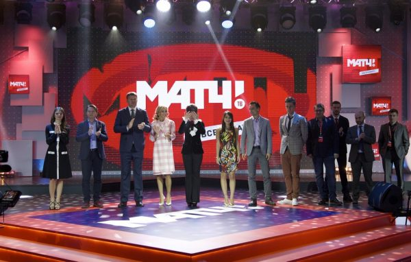 Anchors and commentators of the new Russian sports channel Match pose for the media at the presentation of the channel in Moscow, Russia, Thursday, Oct. 29, 2015. Match,part of Russian sports popularization strategy before World Cup 2018, is due to start its broadcasting on Nov. 1. (AP Photo/Ivan Sekretarev)
