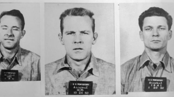 12 Jun 1962, San Francisco, California, USA --- Mug shots of three prisoners that made a rare escape from Alcatraz Island. From left to right: Clarence Anglin, John William Anglin, and Frank Lee. --- Image by © Bettmann/CORBIS