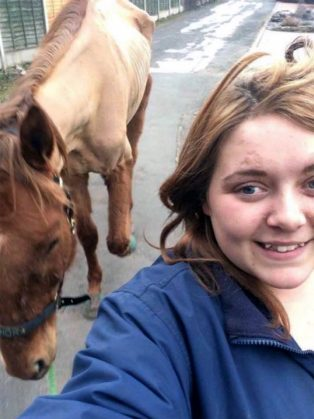 *** COPYRIGHT UNKNOWN USE AT OWN RISK *** PIC FROM CATERS NEWS - (PICTURED Charlotte McPherson taking a selfie with THOR ) - A rider has been banned from keeping horses after her horse was so thin you could see his RIBS. Charlotte McPherson, from Kidderminster, Worcestershire, pleaded guilty to two offences after her ex-race horses condition was so poor it was rated zero. The 22-year-old has been disqualified from keeping horses for 10 years after appearing at Birmingham Magistrates Court on Tuesday (December 6). SEE CATERS COPY