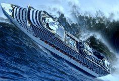 Пассажиры лайнера, попавшего в шторм, сняли видео о том, как выглядят 9-метровые волны изнутри корабля