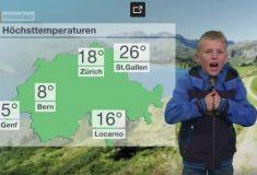Швейцарский мальчик ведёт прогноз погоды так, словно Европе сейчас придёт конец