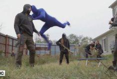 Тигром, прыгающим на человека в седьмом сезоне «Ходячих мертвецов», оказался парень в синем трико