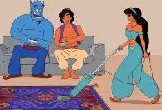 Даже волшебные ковры нужно чистить. Художник перенёс диснеевских персонажей в 2017 год, и у них всё плохо