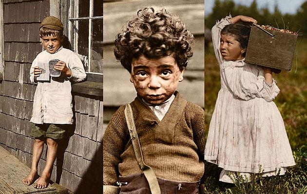 Тяжёлый труд, грязные лица и обеденный перекур. Жизнь детей-рабочих начала 20 века на раскрашенных фото