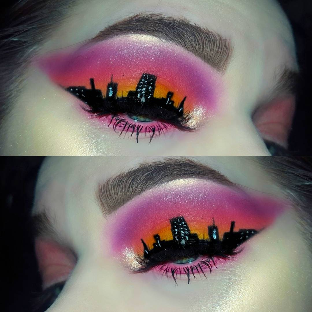 Из-за экземы у девушки сильно опухает лицо. Именно поэтому она рисует на нём картины Ван Гога и небоскрёбы