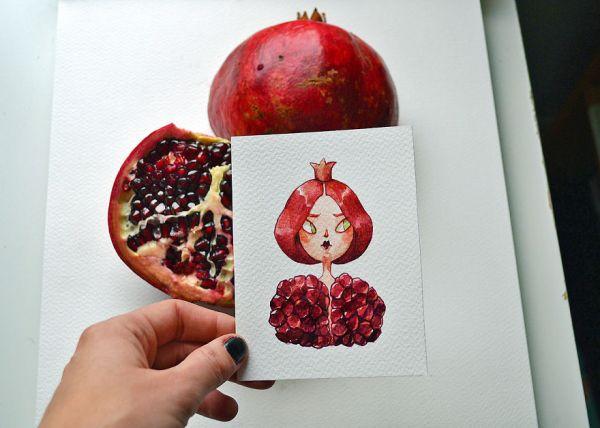 Леди Гранат и Проныра Физалис. Иллюстраторша превращает фрукты и овощи в мультяшных героев с характером