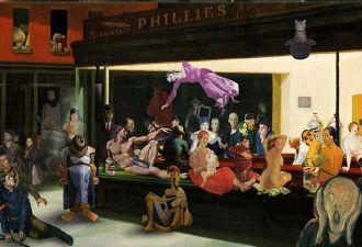 Художник собрал в одной картине персонажей известных полотен. Получилась пятница в Питере. Найди в ней себя!