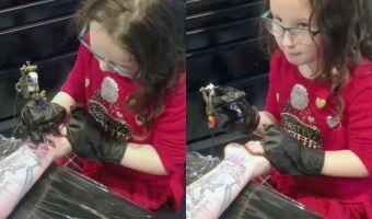 Папа позволил шестилетней дочке сделать ему татуировку. Вышло коряво, но он будет умиляться всю жизнь