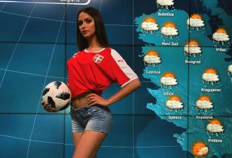 Сербская телеведущая в прямом эфире отбила мяч, как Акинфеев. Но смотреть на неё стоит не только из-за этого