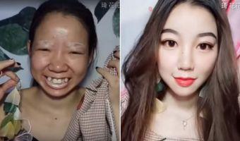 Китаянка с помощью макияжа превращает себя в другого человека. Сложно поверить, что на видео не две девушки