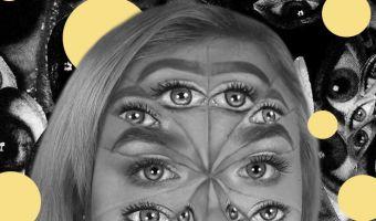 Блогерша превращает себя в многоглазого монстра с помощью макияжа. Сразу и не поймёшь, где на фото реальность