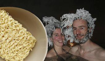 Люди в Канаде превращают свои волосы в ледяной доширак. И вам тоже захочется такую причёску