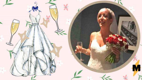 a82537bc26d54c9 Келли МакМиллан — завидная невеста и фанатка игристых напитков — удивила  гостей на собственной свадьбе необычным платьем. К тканевой основе она  приложила ...