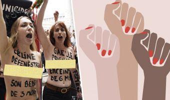 Активистки FEMEN превратили свои тела в памятники. Так они привлекли внимание к проблеме домашнего насилия