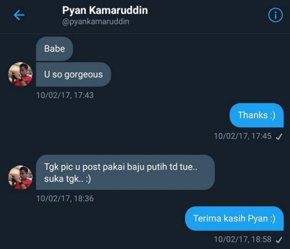 Скриншот переписки с парнем с ником Pyan Kamaruddin в 2017 г.