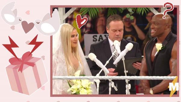 Рестлеры решили пожениться в прямом эфире. И получили постановочный сюрприз, который оставил обоих в синяках