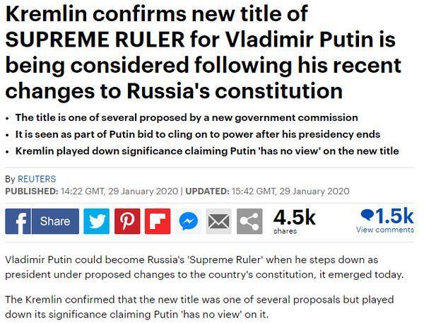 Иностранцы узнали об идее сделать Путина верховным правителем, и удивлению их нет конца. Как и шуткам