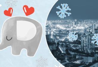 Слон сбежал из цирка и гуляет по Екатеринбургу. Он валяется в снегу и радуется, как ребенок
