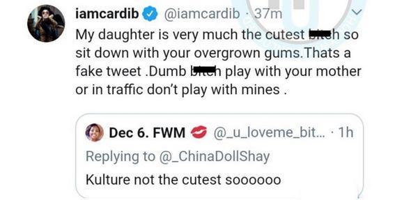 Девушка покритиковала дочь Карди Би. Но не стоило забывать, что рэперша из Бронкса за словом в карман не лезет