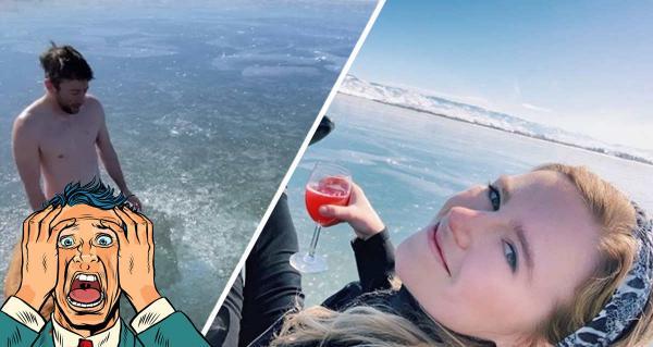 Блогер ради эпичного видео нырнул под лёд и потерял прорубь. Концовка ролика заставит вас испытать облегчение