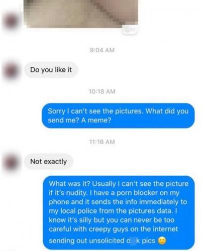Парень отправил незнакомке интимное фото, но зря ждал флирта. Новый лайфхак против дикпиков оказался рабочим