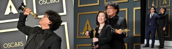 """Режиссёр фильма """"Паразиты"""" стал лучшим шипперским мемом года. Ведь он заставил своих """"Оскаров"""" целоваться"""