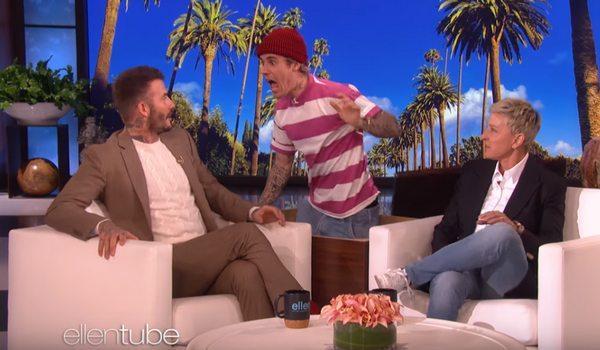 Джастин Бибер попытался напугать Дэвида Бекхэма на шоу Эллен. Но скорее испугал зрителей своими штанами