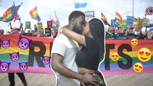 Пара страстно обнялась перед ребёнком, и многие люди пришли в восторг. А геи уже объяснили, что с этим не так