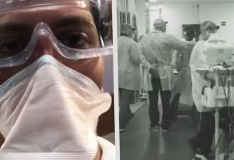 Доктор из Нью-Йорка снял ситуацию в его госпитале. Людей столько, что на видео слышно дыхание больных на ИВЛ