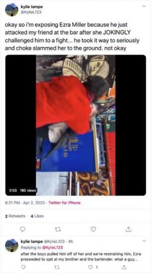 Эзра Миллер (или двойник актёра) напал на женщину на видео. Но мемов об этом больше, чем возмущения