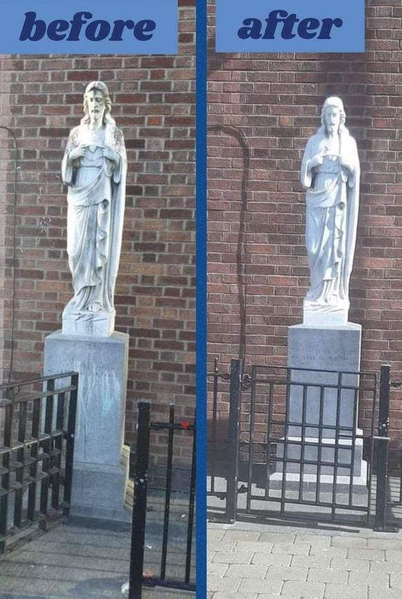 Жители Дублина почистили статую Девы Марии и не узнали её. Оказалось, они годами жили рядом не с Богородицей