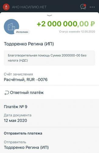 """Регина Тодоренко перевела два миллиона центру """"Насилию.нет""""."""