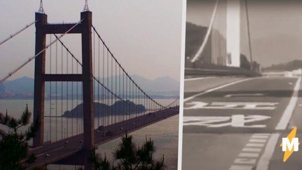 В Китае начал вибрировать мост, заполненный машинами. На видео он будто танцует танец живота
