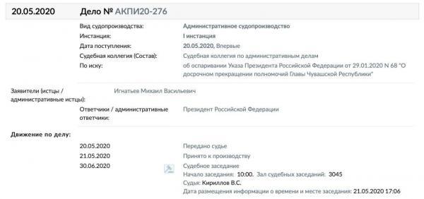 Экс-главу Чувашии обидела отставка и он подал в суд на Путина. Такое губернаторы позволяли себе лишь при Ельцине