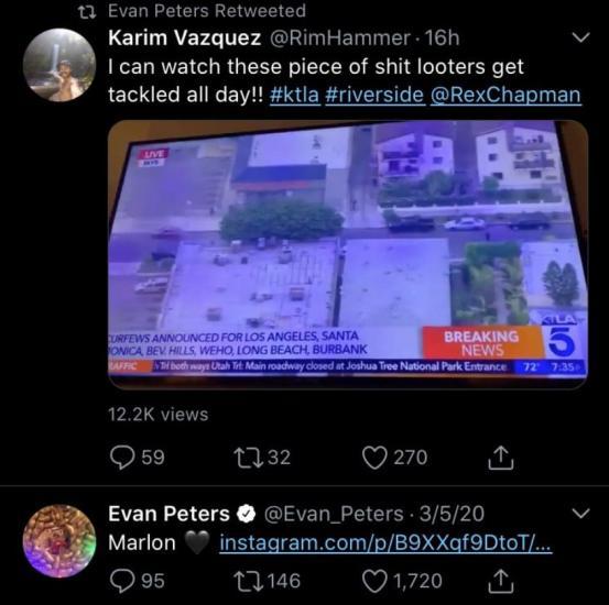 """Эвана Питерса сочли расистом за ретвит. Кажется, актёр не вышел из роли героя Американской истории ужасов"""""""