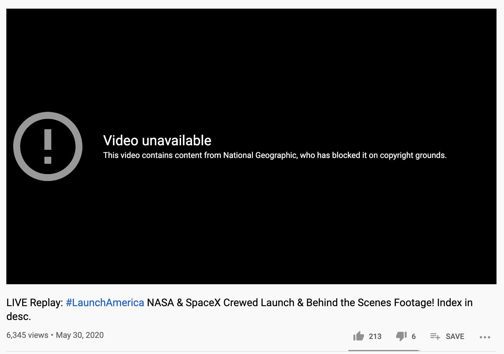 Запуск корабля SpaceX видел весь мир, но пересмотреть на YouTube не мог никто. А вcё из-за National Geographic