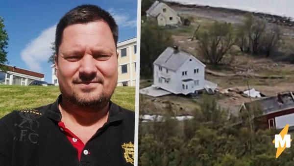 Норвержец сел перекусить после ремонта на даче, но услышал треск. Его дом поехал в море - и попал на видео