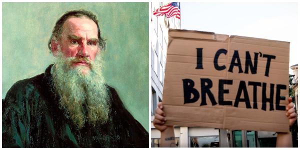 Американцы выяснили, что к протестам их призвал Лев Толстой. Похоже, его книги намекали на это весь карантин