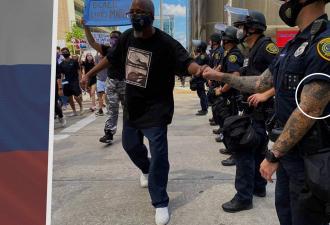 На протестах в США увидели россиянина в полицейской форме. Люди думали он шпион, но правда ещё серьёзнее