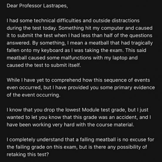 Студентка сдавала экзамен, но на её пути встала фрикаделька. Отмазка была слишком безумной, чтобы не сработать