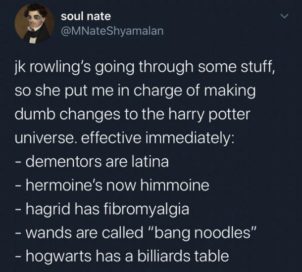 Тролль поиздевался над книгами Роулинг и создал мем. Вселенная Гарри Поттера в нём упорота как никогда