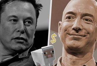 Люди сравнили состояние Джеффа Безоса и Илона Маска в блоках Minecraft. И капитал главы Tesla еле заметен