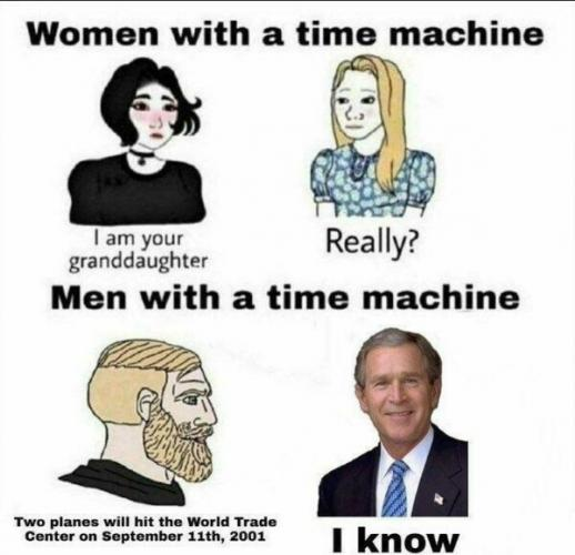 Мем про парней с машиной времени устарел. Теперь в прошлое отправляются женщины - а мужчины этим недовольны