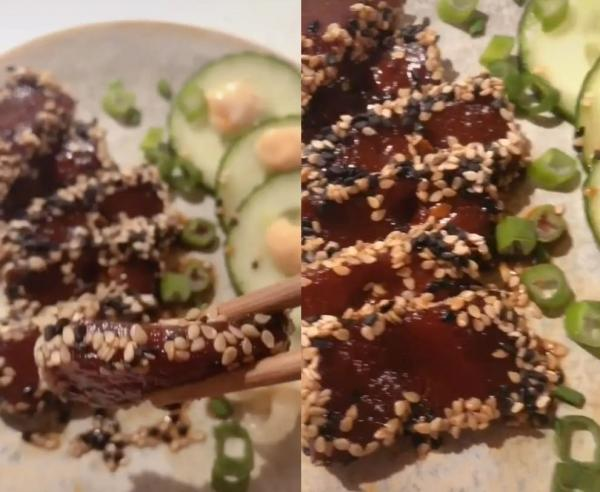 Блогерша приготовила веганские сашими и ввела в ступор мясоедов. Вместо рыбы в рецепте арбуз, и это не пранк