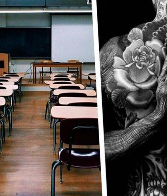 Учитель похож на ящера из-за тату, и ему норм, но не семьям учеников. Их мнение: «чокнутому» в школе не место